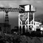 San Giovanni Miniera, Bindua, Iglesias. Il nastro trasportatore e la tramoggia dell'impianto di lavaggio.