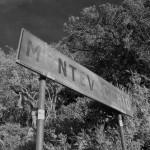 Montevecchio. Il cartello sulla strada arrivando da Ingurtosu.